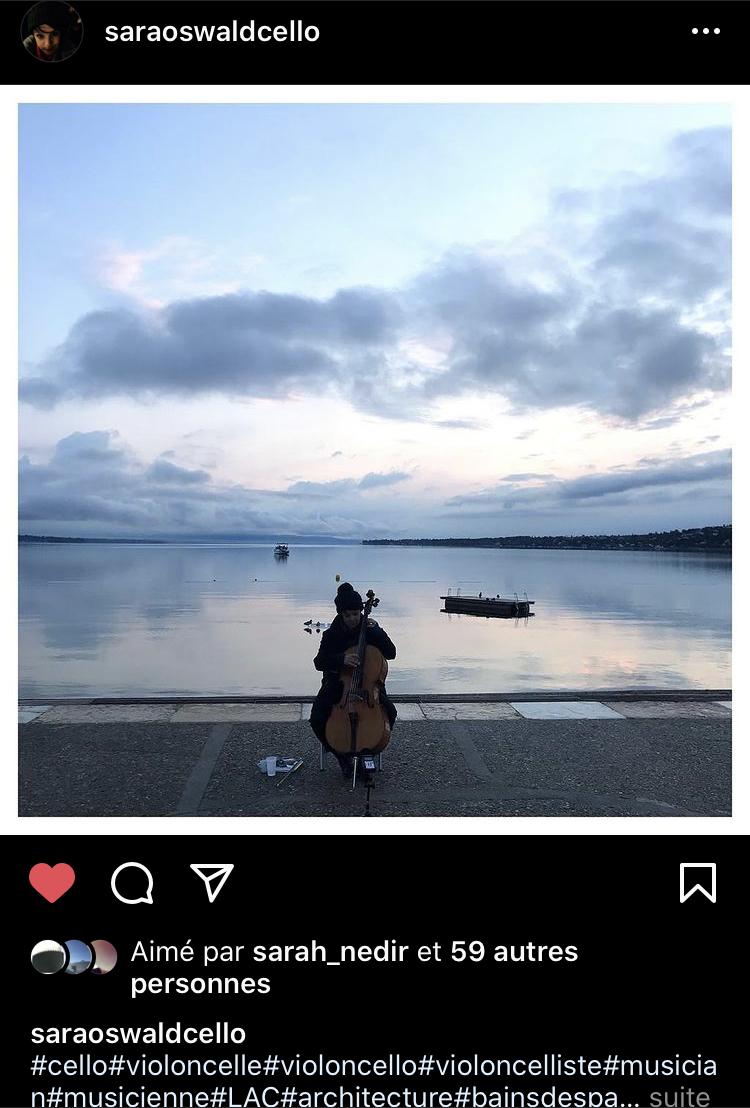Aube musicale avec Sara Oswald  (capture d'écran instagram @saraoswaldcello / photo Sarah Nedir)