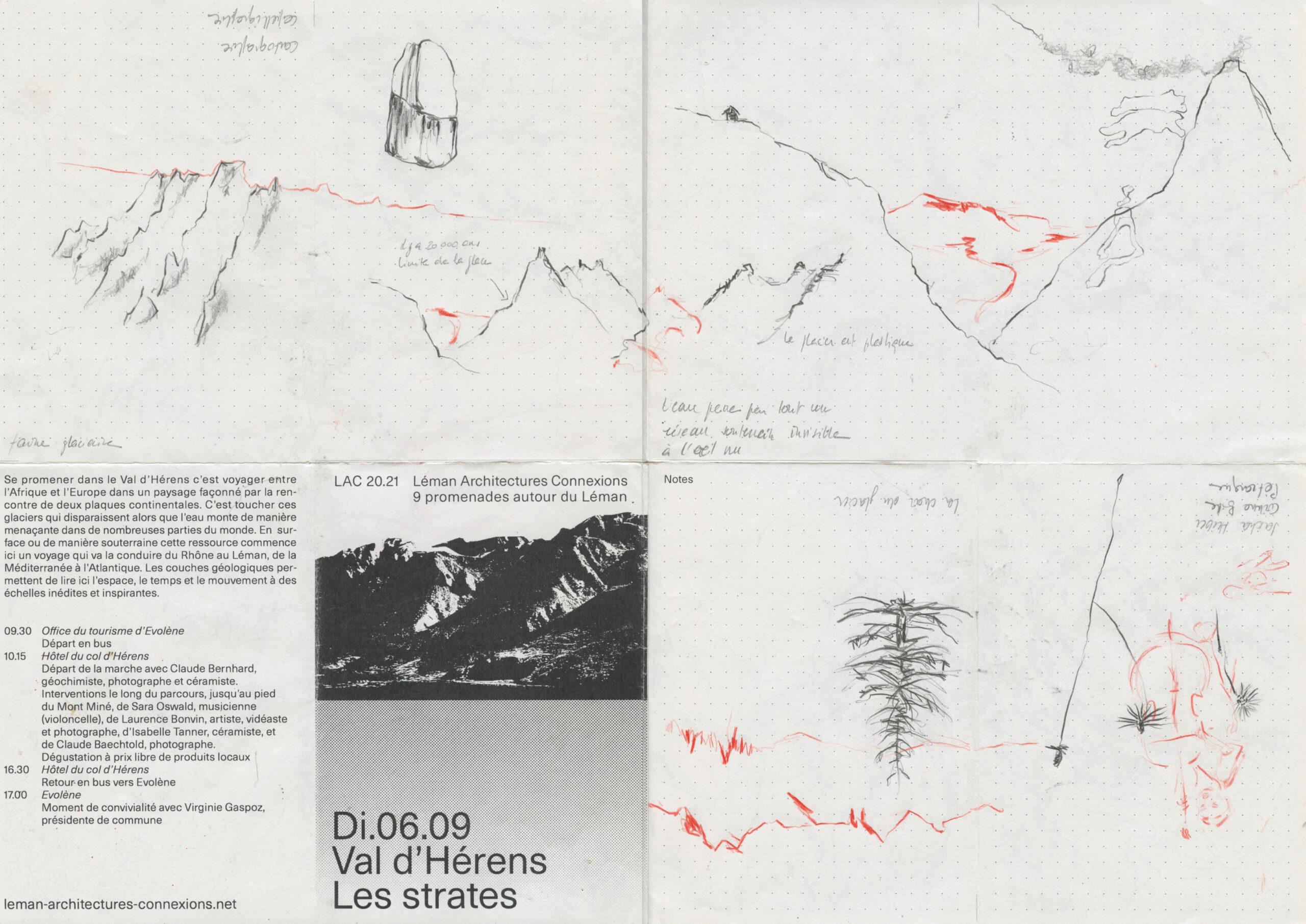 Croquis et notes de Lorna Bornand